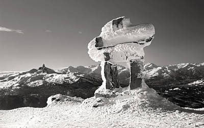 Whistler Summit Inukshuk Black And White Poster by Pierre Leclerc Photography