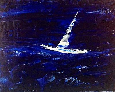 White Boat - Dark Sea And Sky Poster