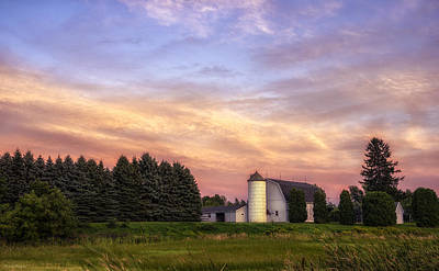 White Barn Sunset Poster