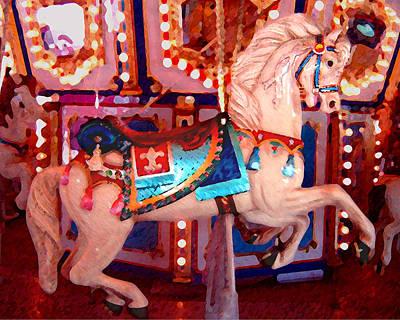 White Carousel Horse Poster