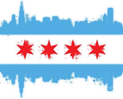 White Chicago Flag Poster