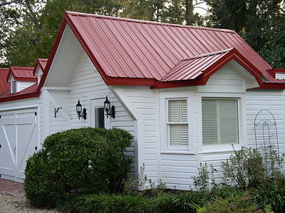 White Cottage Red Roof In Moultrie Georgia 2004 Poster