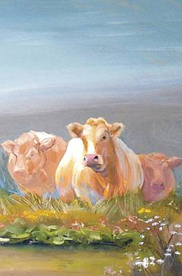 White Cows Painting Poster