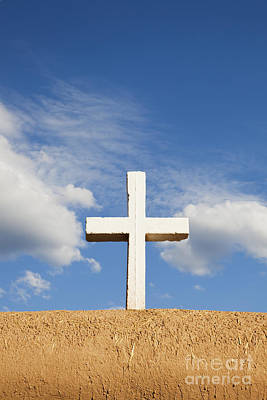White Cross On Adobe Wall Poster