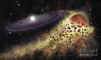 White Dwarf Shredding A Planet Poster by Lynette Cook