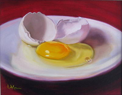 Poster featuring the painting White Egg Study by LaVonne Hand