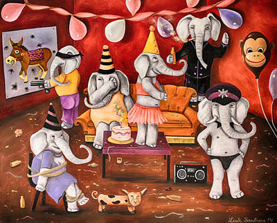 White Elephant Party Edit 3 Poster by Leah Saulnier The Painting Maniac
