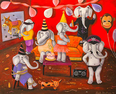 White Elephant Party Edit 5 Poster by Leah Saulnier The Painting Maniac