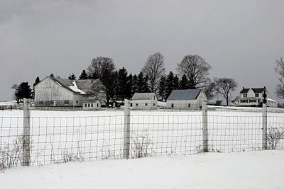 Poster featuring the photograph White Farm On A Gray Day  by Gene Walls