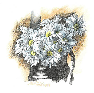 White Flowers Pointillism Drawing  Poster