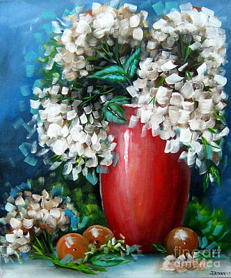 Poster featuring the painting White Hydrangeas by Patrice Torrillo