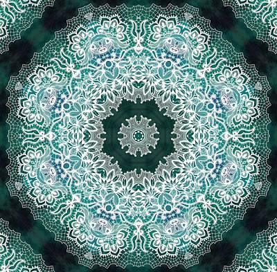 White Lace On Malachite Background Poster