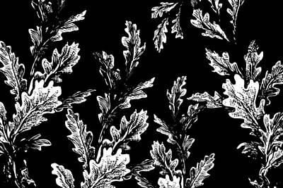 White Leaves On Black  Poster