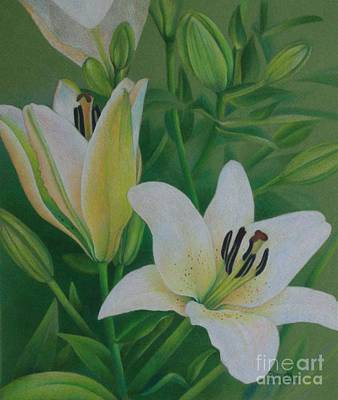 Poster featuring the painting White Lily by Pamela Clements