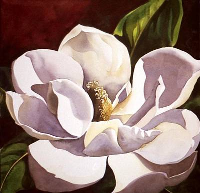 White Magnolia With Red Poster