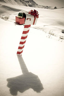 White Mailbox Decorated For Christmas Poster by Kevin Smith