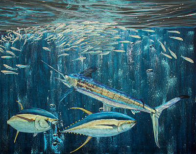 White Marlin Original Oil Painting 24x36in On Canvas Poster by Manuel Lopez