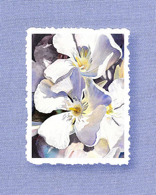 White Oleander On Vintage Blue Poster by Irina Sztukowski