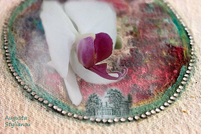 white Orchid on a Landscape Poster by Augusta Stylianou