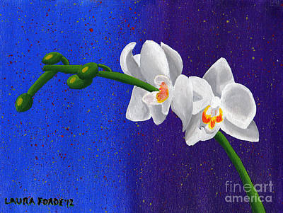 Poster featuring the painting White Orchids by Laura Forde