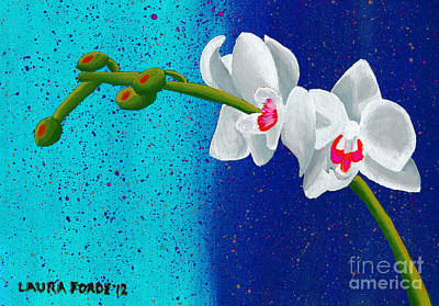 Poster featuring the painting White Orchids On Blue by Laura Forde