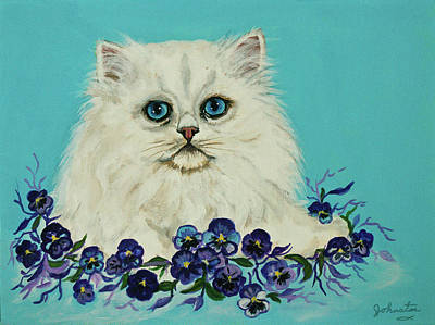 Poster featuring the painting White Persian In Pansy Patch Original Forsale by Bob and Nadine Johnston