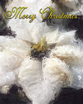 Poster featuring the painting White Poinsettias Christmas Card by Jennifer Hotai