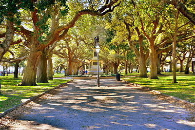 Poster featuring the photograph White Point Gardens At Battery Park Charleston Sc Hdr by Lisa Wooten