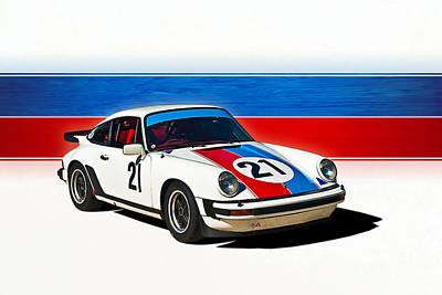 White Porsche 911 Poster