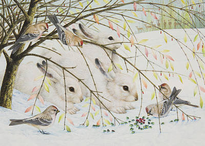 White Rabbits Poster by Lynn Bywaters