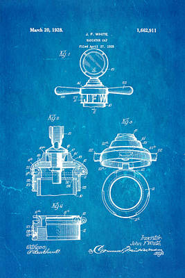 White Radiator Cap Patent Art 1928 Blueprint Poster