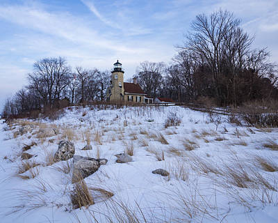 White River Lighthouse In Winter Poster