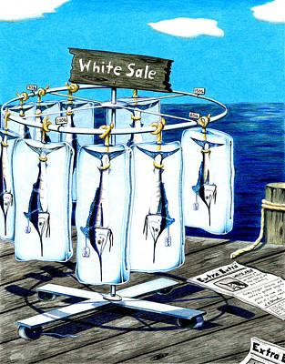 White Sale Poster by Karen Rhodes