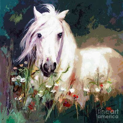 White Stallion In Wildflower Field Poster