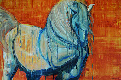 Poster featuring the painting White Stallion by Jani Freimann