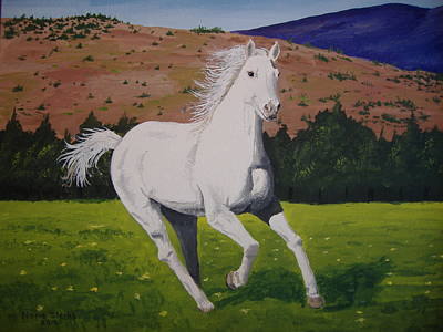 Poster featuring the painting White Stallion by Norm Starks