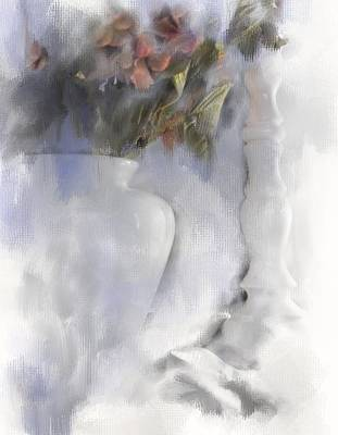 White Still Life Vase And Candlestick Poster