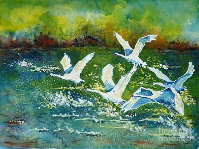 White Swans Poster by Zaira Dzhaubaeva