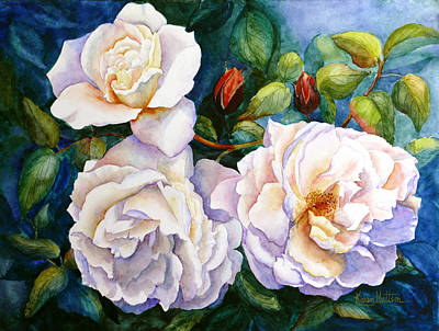 White Teas Rose Tree Poster by Karen Mattson