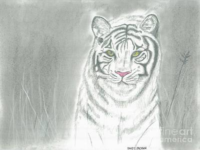 Poster featuring the pastel White Tiger by David Jackson