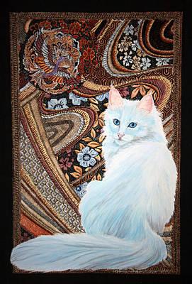 Poster featuring the painting White Turkish Angora by Leena Pekkalainen