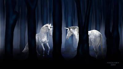 White Unicorns Poster