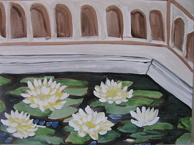 Poster featuring the painting White Water Lilies by Vikram Singh