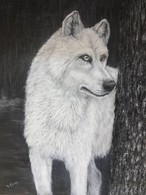 White Wolf On Guard Poster