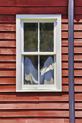 White Wood Window Against A Faded Weathered Red Barn Wall Poster