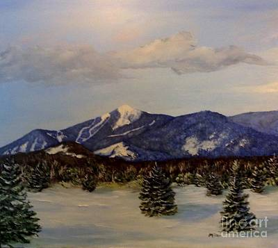 Whiteface In Blue Poster by Peggy Miller