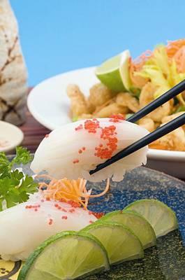 Whitefish Nigiri And Fried Calamari Poster by Stock Foundry
