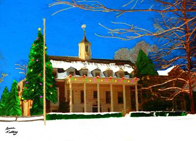 Whittle Hall At Christmas Poster by Bruce Nutting
