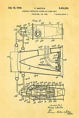 Whittle Jet Engine Patent Art 2 1946 Poster by Ian Monk