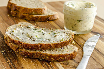 Whole Grain Bread And Herb Butter Poster by Teri Virbickis
